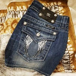 Miss Me Jean Angel Wing Skirt
